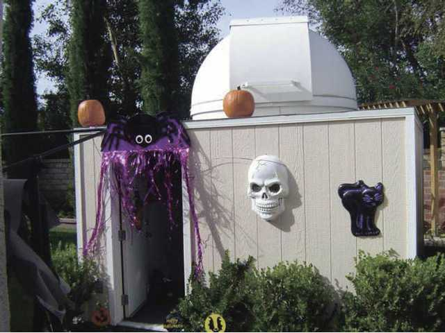 The Haunted Observatory presents trick or treaters with the opportunity to observe the Halloween night stars through a powerful telescope. They get their treats afterward.