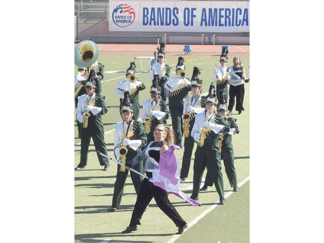 The Canyon High School band performs at the Bands of America competition held at College of the Canyons on Saturday.