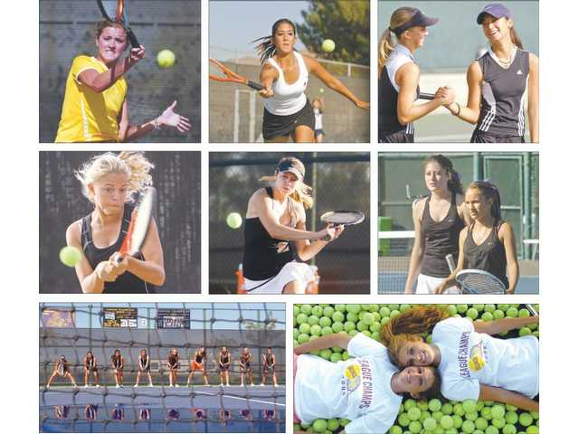 (Valencia girls tennis players from top, left to right) Ashley Herrera in 2002, Cassie Strange in 2004, Kristin Anderson and Monique Palmera in 2005, Isabella Fraczek in 2006, Thalia Wilczynski in 2008, Chelsie Dietz and Andrea Zammit in 2009, the 2006 Valencia girls tennis team, Courtney Kaska and Lehren MacKay in 2006.