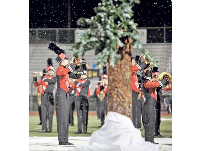 "Hart Regiment performs its winter-themed show, ""Alpine"" during a band competition."