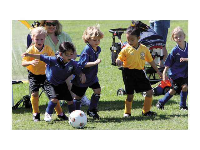 Little girls and boys of the AYSO Region 678 Under 6 teams compete at Peachland Elementary School in Newhall recently.