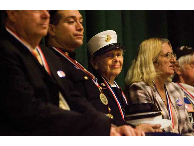 Phyllis Capelle smiles as she and other veterans are honored at Canyon Springs Elementary School on Thursday morning.