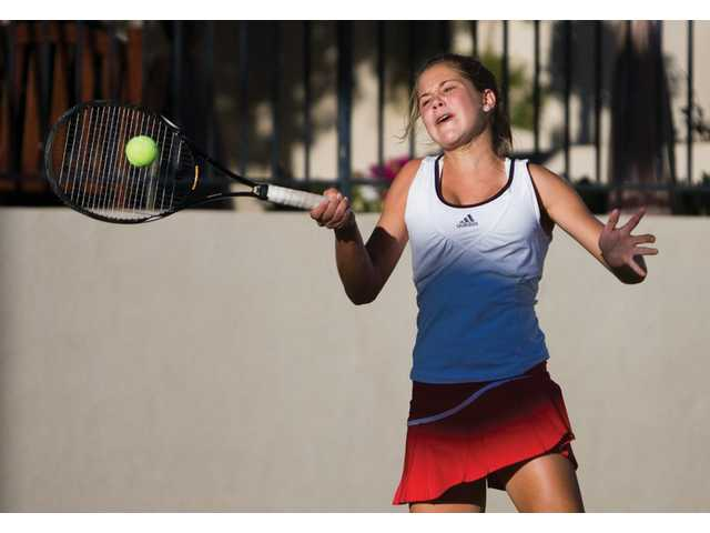 Anne Susdorf of Hart knocked off West Ranch's Ana Lucia Fuentes, 6-4, 6-4, in thesingles competitionof the Foothill League finals on Thursday.