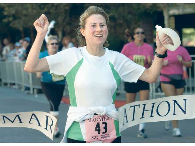 Jennifer Christian-Herman, 43, was the fastest woman, finishing the race in 3:15:43. The marathon followed a 26.2-mile course around the Santa Clarita Valley.