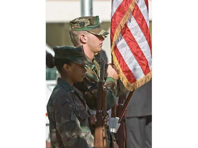 The color guard for the Veterans Day ceremonies held at the Veterans Historical Plaza was the Young Marines - similar to Army ROTC - who carried the flags in to begin the event.