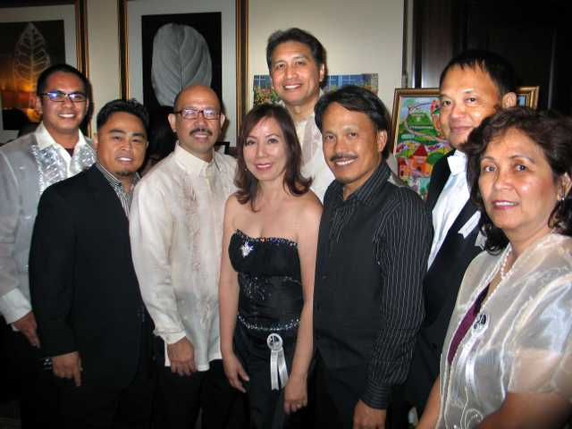 A group of past SCV Filipino-American Association presidents at the Silver Anniversary, Nic Montebon (1999), Ray Manzano (2001) Ed Arguellas (2002), Zony Gordon (2005), Adrian Gomez (1984), Sunny Sarte (2004), Oliver Carreon (1992) and Fatima Purdy (2003).