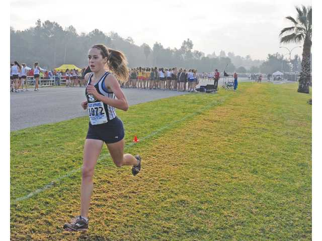 Saugus junior Kaylin Mahoney runs during the CIF-Southern Section Division II Cross Country finals on Saturday at Mt. San Antonio College. Mahoney won the CIF-SS Div. II title in 17 minutes, 22 seconds.