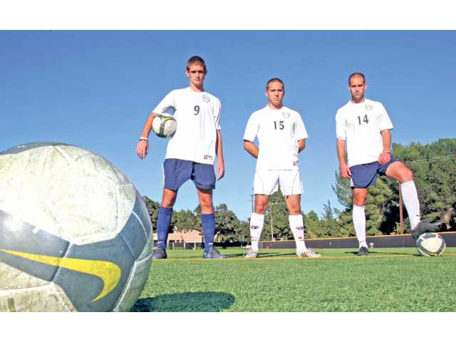 (From left to right) The Master's College soccer players Joel Peluffo, David Alegria and Fabrice Gautrat are all graduates of local high schools and have helped lead the Mustangs to the NAIA national tournament.