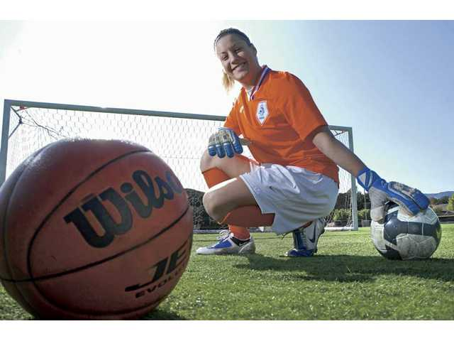 The Master's College senior Amanda Durocher used up all her college basketball eligibility, but she was able to return to soccer — a sport she excelled in as a youth.