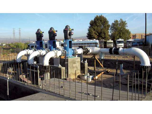A new pump station is being constructed near the bridge over the South Fork of the Santa Clara River on Magic Mountain Parkway, near the intersection of Railroad Avenue and Magic Mountain Parkway. The station is necessary to pump treated water for distribution to the Santa Clarita Water Division's service area.