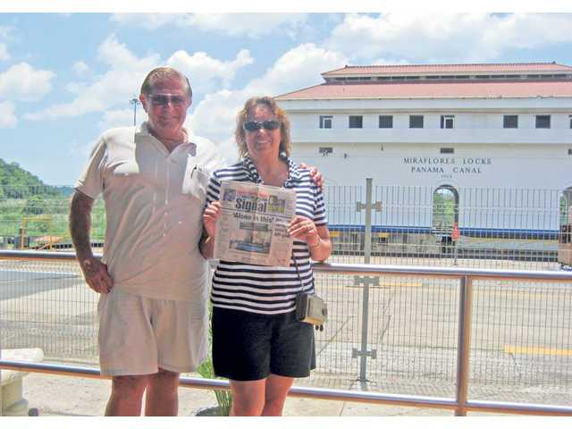 Gary and Marilyn Saxton are shown at the Panama Canal during a recent trip.