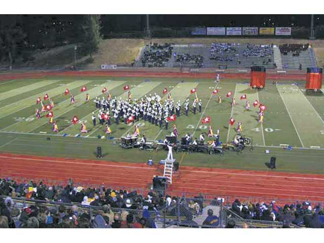 The West Ranch High School marching band plays at one of its performances this year.