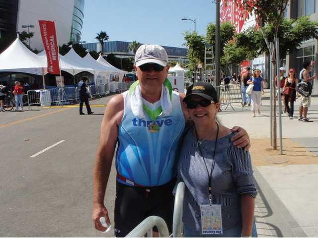 Jim and Stella Pilarski pose close to the finish line at the 2009 Los Angeles Triathlon, which Jim Pilarski undertook after months of training.