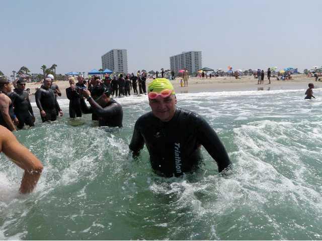 Frigid ocean waters didn't deter Pilarski, shown here at a practice swim.