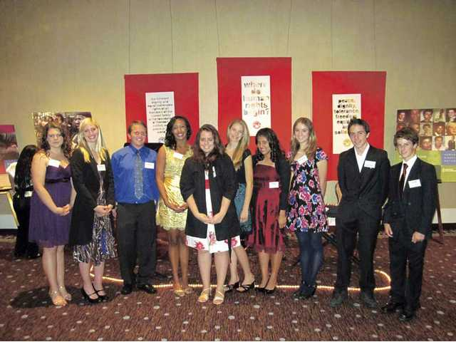 Valencia and Canyon high school students Shanley Newman, Ruby Lawler, Dakotah Raines, Kimberly Stephenson, Audrey Abergel, Mariah Mahotz, Amy Lopez, Megan Scherich, Laurant Abergel, Arik Bibicoff at the Voices for Justice Human Rights Watch Annual Dinner at the Beverly Hilton on Nov. 17.