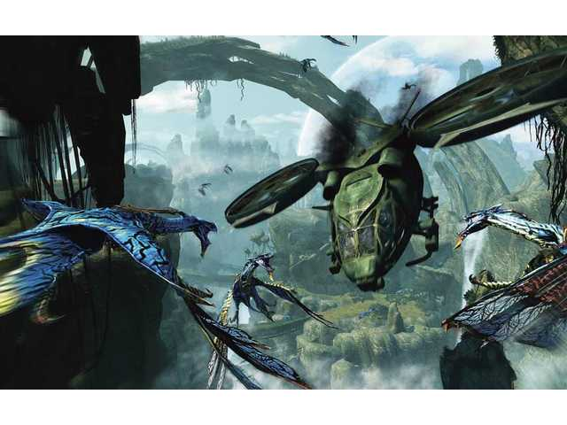 "A scene from ""James Cameron's Avatar: The Game,"" depicting a SA-2 Samson Transport battling a flock of Banshees over the planet Pandora."