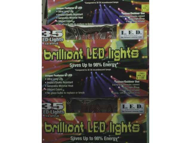 These boxes of LED lights, available at Green Thumb International, note their energy efficiency -- saving up to 98 percent energy compared with incandescent lights.