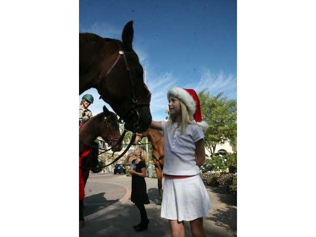 Krista Kemp, 10, of Valencia, pets a sheriff's posse horse.