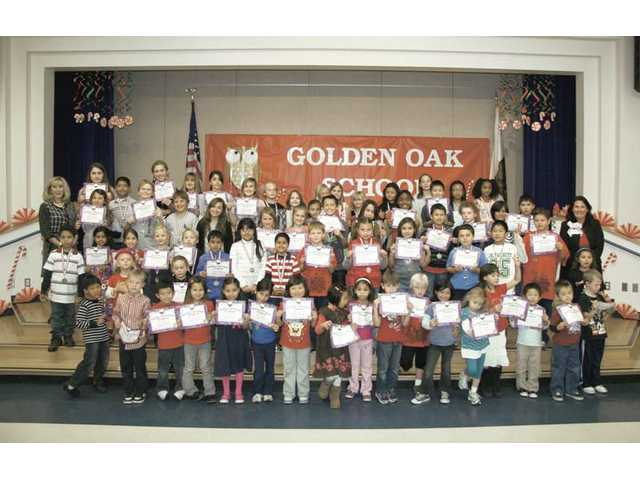 Golden Oak Elementary School recently held two awards ceremonies to honor the school's Accelerated Readers. These students have reached 150 percent and above of their individual reading goals. Pictured are award recipients honored Dec. 4.