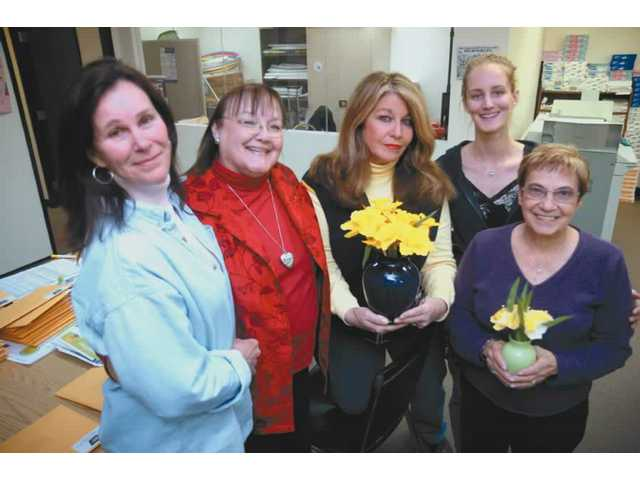 Some of the folks who bring you Daffodil Days, left to right, Candy Spahr, Nancy Coulter, Diana Sevanian, Holly Feneht and Agnes Russell. Daffodil Days is a fundraiser that provides money for free services offered to cancer patients. Among these services are transportation to and from oncology treatments, and educational classes.