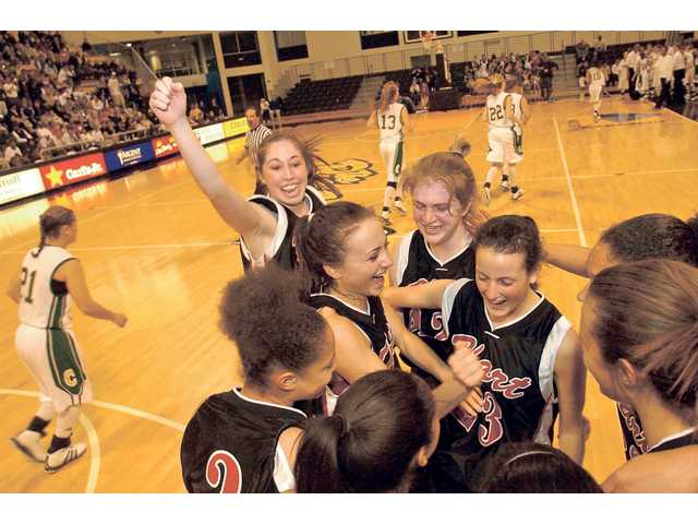 Hart girls basketball celebrates its victory over Canyon in the CIF-Southern Section Division I-A championship on March 4, 2006. It was the Indians' fourth trip to the title game in five seasons.