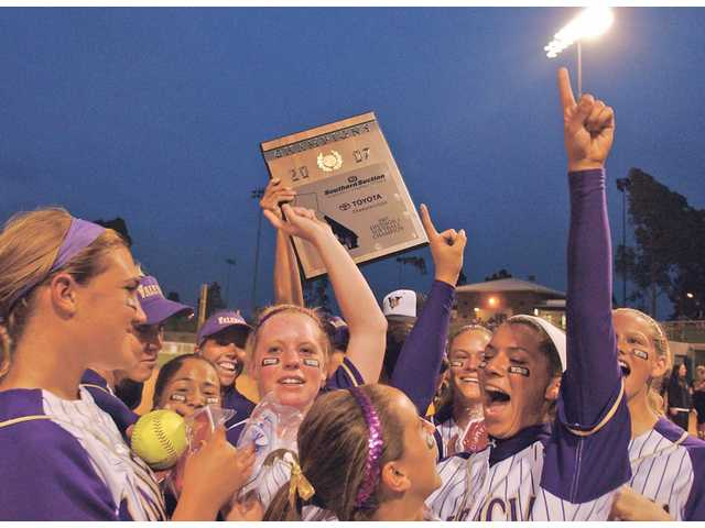 Valencia's softball team celebrates its CIF-Southern Section Division I championship victory on June 2, 2007. The Vikings were named national champions by USA Today and StudentSports.com.