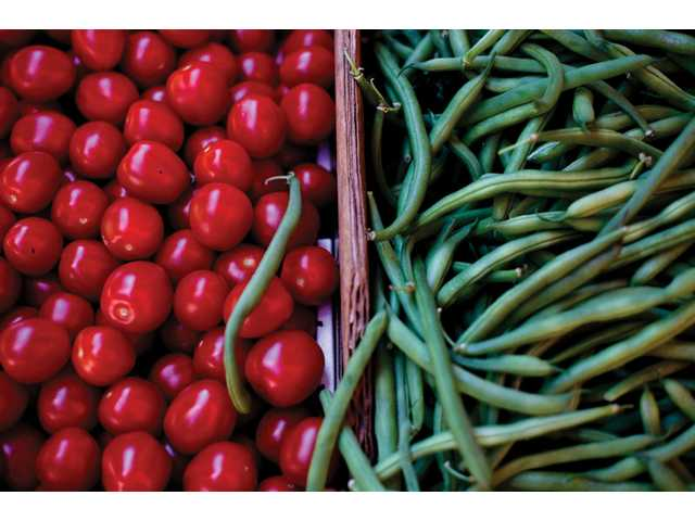 Green beans and tomatoes at Francisco's Fruits.