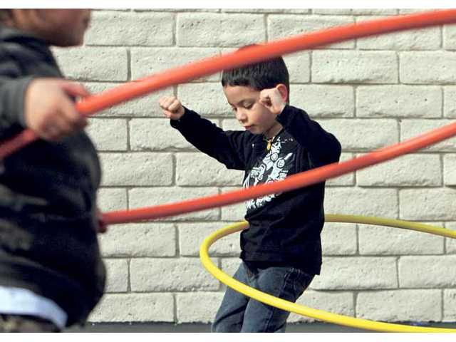 Kindergarten student Nathaniel Bertirotti hula hoops at Meadows Elementary School in Valencia during part of a triathlon fundraiser to benefit the American Heart Association back in February. Valencia Meadows was recently named one of 10 finalists from over 3,000 schools statewide that are competing in the statewide 2010 Governor's Challenge fitness contest.