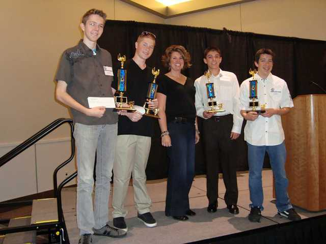 Valencia High School students claimed the three top awards in the Building Industry Association Architectural Drafting Competition.