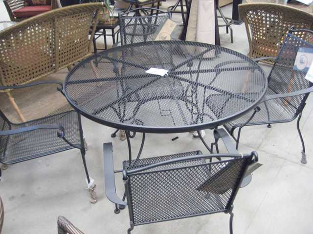 Wrought iron set, $88 table, $40 chair.