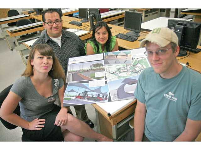 Clockwise from top, Team Avant Verdant members Jorge Cea, Charlyn Bjerg, Eric Wagner and Jolene Lain created and designed an energy and transit system for College of the Canyons Valencia campus.