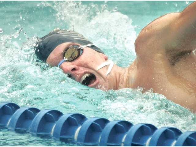 Thanks in part to record-setting junior Riley Mita, the West Ranch boys swim team snapped Hart's streak of 70 straight Foothill League dual meet victories this season.
