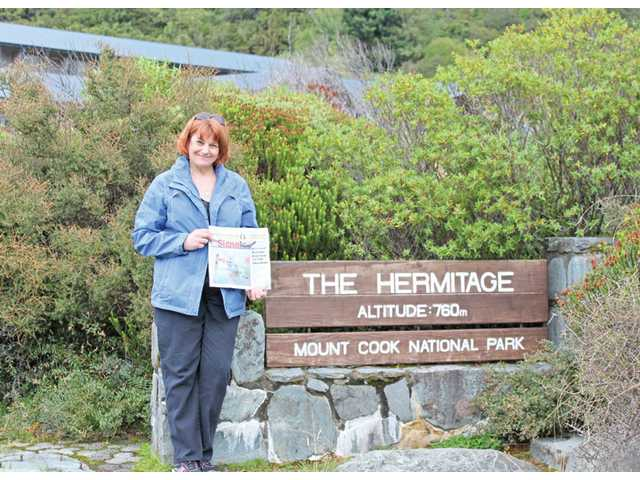 Mary Bradway shows her Signal at the Hermitage Hotel in Mount Cook National Park in Mount Cook, South Island, New Zealand on March 28.