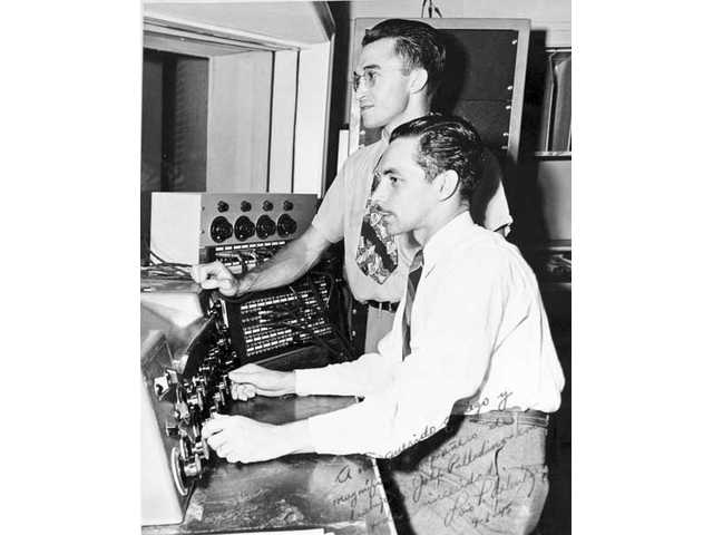 Sound engineers John Palladino, top, and Val Valentine worked together at Radio Recorders in Hollywood in the 1940s.