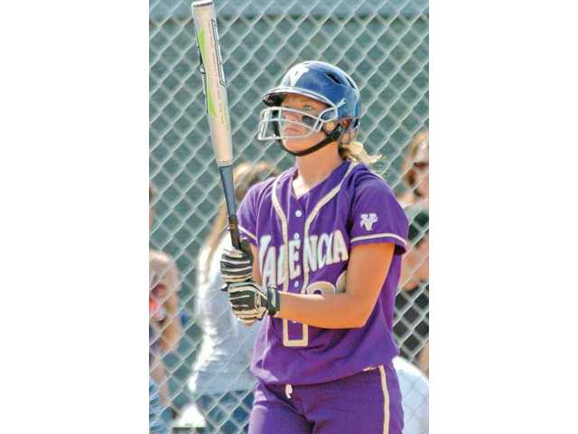Valencia catcher Karlie Habitz prepares to hit against Valencia of Placentia on May 25 in the CIF-SS Division I playoffs. Habitz has verbally committed to play for Penn State.