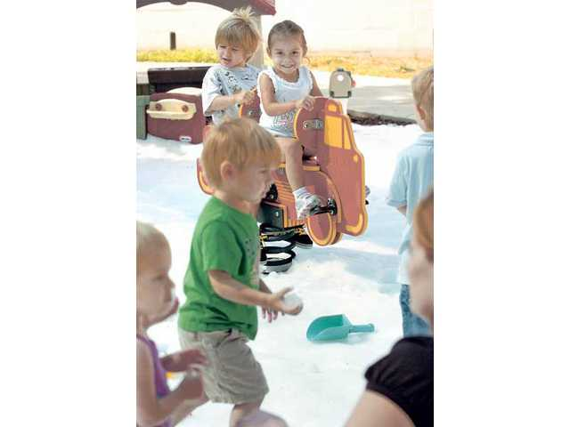 Creative Years Preschool enjoys a summer snow day