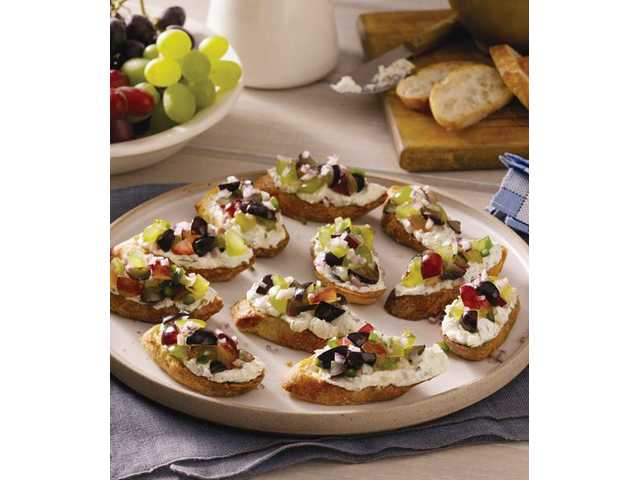Goat cheese crostini with grape salsa are easy, tasty meal options