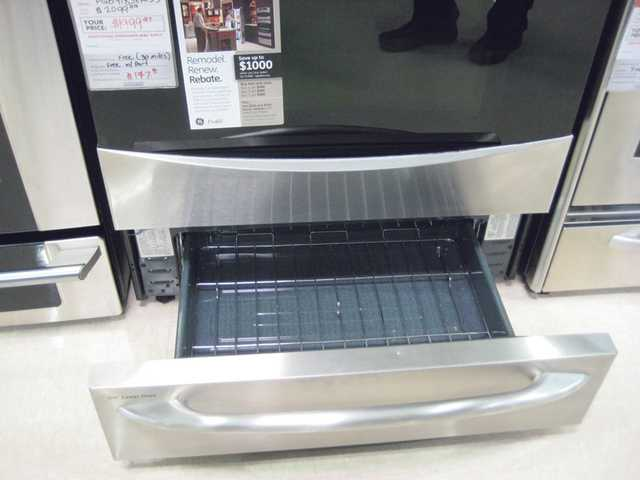 This stove, on sale for under $2,000, includes a drawer that serves as a second baking oven.