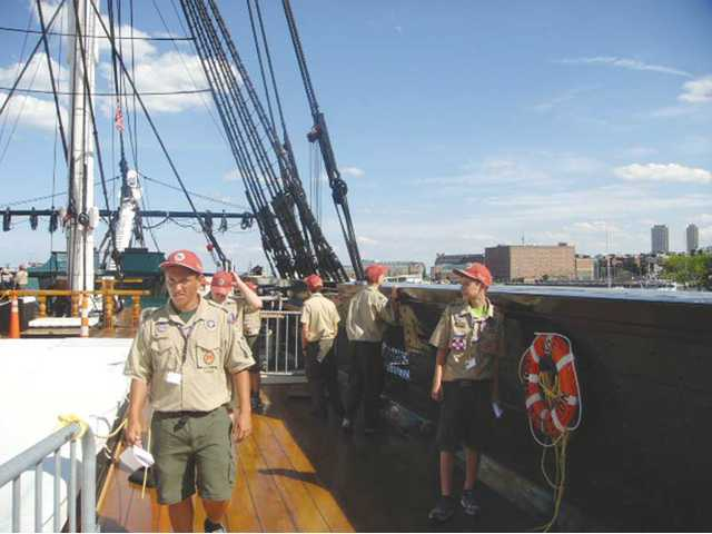 Boy Scouts from the Santa Clarita Valley tour the USS Constitution in Boston harbor.