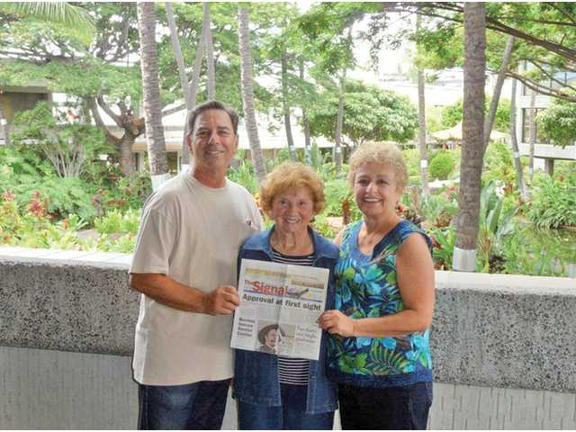 From left, Howard Marcovitch; his mother, Sylvia Marcovitch; and his wife, Cheri Marcovitch, pose at Honolulu Airport in Hawaii, where they celebrated Sylvia Marcovitch's 90th birthday.