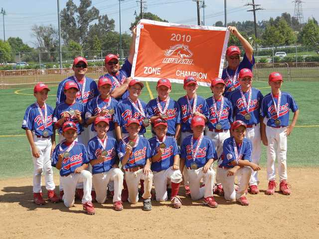The William S. Hart PONY League Mustang 10U All-Stars hold up the championship banner after winning their zone on Sunday. Hart Mustang moved on to play in the Mustang World Series, which begins on Wednesday in Irving, Texas.