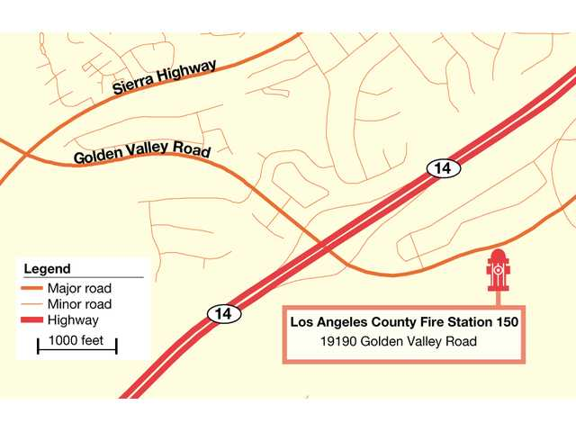 The map above shows the future location of Fire Station 150, which will be located on Golden Valley Road and expects to be completed by 2012, according to Los Angeles County documents.