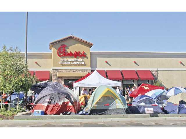 One hundred and ten people camped outside Chick-fil-A before it's grand opening on Wednesday, July 28.