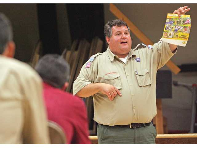 Bill Hart Executive Director Jeff Prata speaks to a group of parents and troop leaders during a meeting in Saugus.