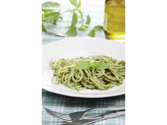 Sherrie's pesto pasta is diabetic-friendly.