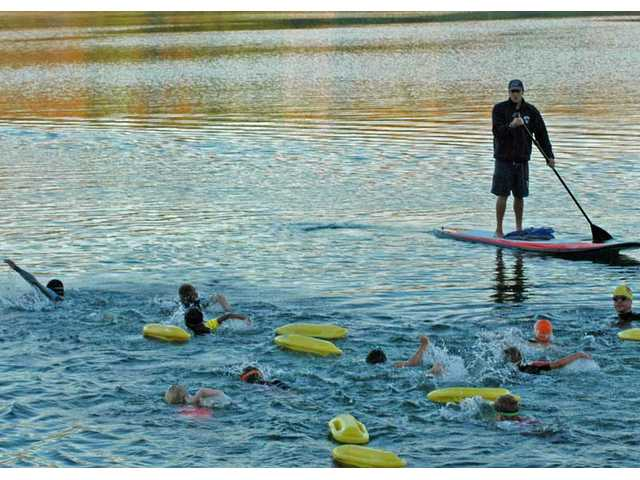 SAFE Ambassadors swam across Castaic Lower Lake on Saturday, Sept. 11.