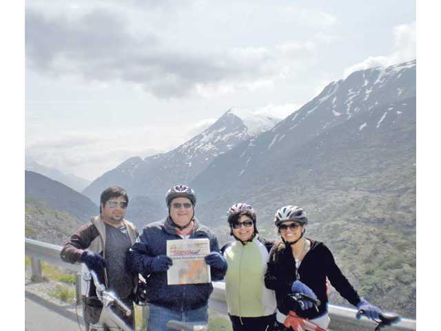 Eddie, Ed, Betty and Laura Intagliata prepare for a 15-mile downhilll bike ride on the Klondike Highway from White Pass summit to the town of Skagway, Alaska.