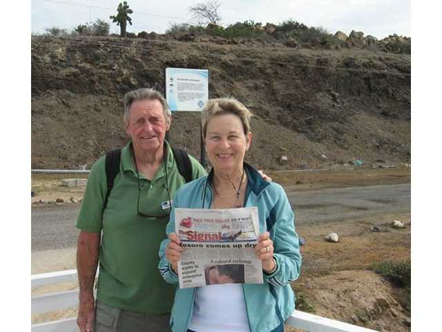 Bert and Judy Reinsma with The Signal at the Baltra airport on the Galapagos Islands in August. The couple treated themselves to the Lindblad-National Geographic Galapagos Islands cruise to celebrate their 50th wedding anniversary.