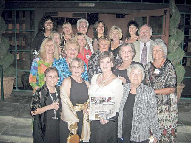 Zonta Club of the SCV — from front row left to right: Alicia Estrada, Cathie Kincheloe, President Cindy Kittle and President-elect Karla Edwards; second row from left to right: Jorja Harris, Pat Allen, Chris Miller, Nancy Albrecht and Pat Willett; third row from left to right, Peggy Edwards, Darleet Lyons and Un-Zon Tom Tucker; and back row from left to right, JoAnn Lindsey, Karen Maleck-Whiteley, Un-Zon Bill Lyons, Danise Davis, Jo Ann Rodriguez and Christine Sexton — had the largest delegation at a recent conference in Riverside, compared to clubs from Southern California, Nevada, Utah, New Mexico, Arizona, Hawaii and Sonora, Mexico.