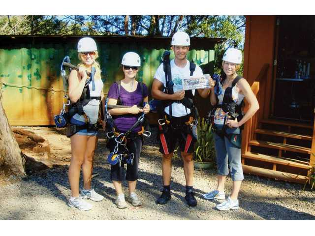 From left, Breanna Miller, Erin Keithley, Ben Guest and Phaedra Miller, of Newhall, geared up for the zipline at Piiholo Ranch, Maui.
